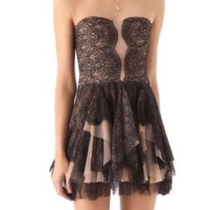 BCBG MaxAzria Norelle Nude Lace Mesh Black Dress 4